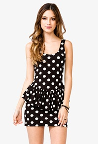 This polka dot peplum dress available at Forever 21 for just $15.80 would look just fab with some big, chunky colorful jewelry!