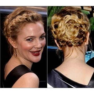 Drew Barrymore adds her own twist on the braided bun by braiding the front as well. Too bad french braids were never my thing.