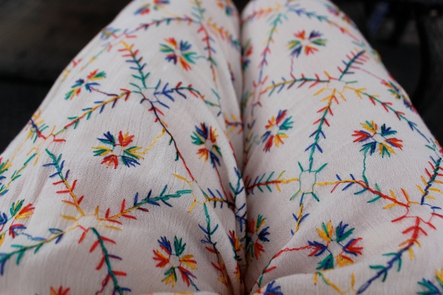 Embroidered pants by Free People