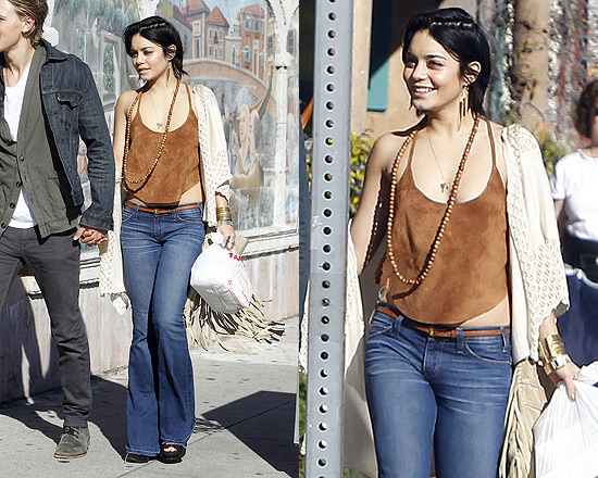 Vanessa Hudgens doing her thang as a hot hippie in a suede Free People top.