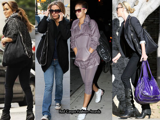 Celebs rock their animal friendly Stella bags.