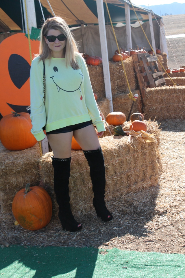 Top: Wildfox  Shorts: Vegan leather by Planet Funk  Boots: Sam Edelman