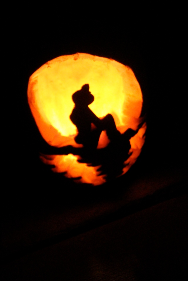 All this talk of Beach Barbie even inspired an ocean themed for my pumpkin. Ordinary is not in my vocabulary but thingamabob and dinglehopper are. FYI I did this completely free hand. I wouldn't even know where to get a stencil, but I did get the idea for the silhouette from Pintrest.
