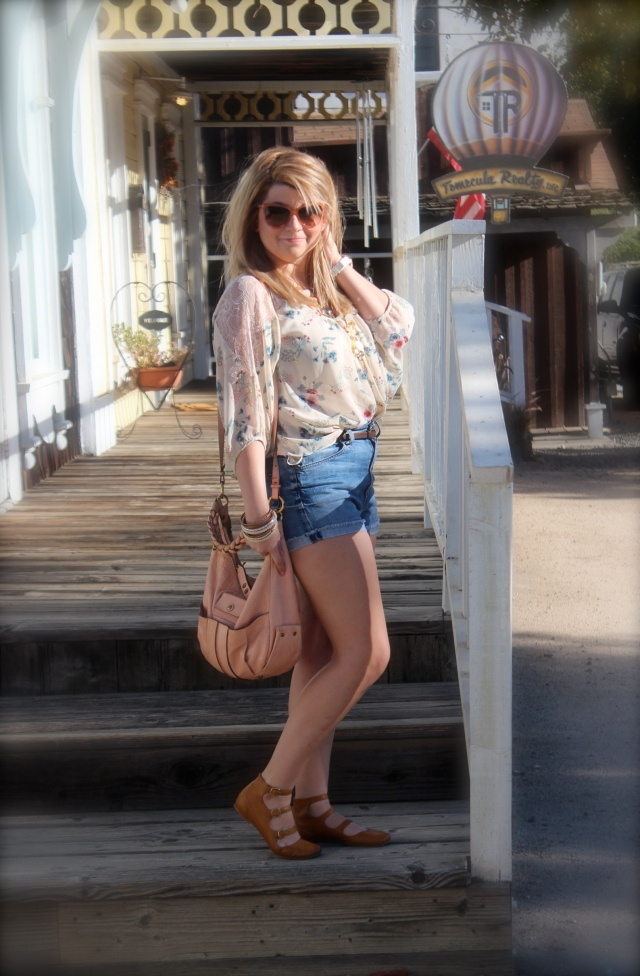 Top: LC Lauren Conrad Shorts: Seven For All Mankind Bag and Shoes: Chloe