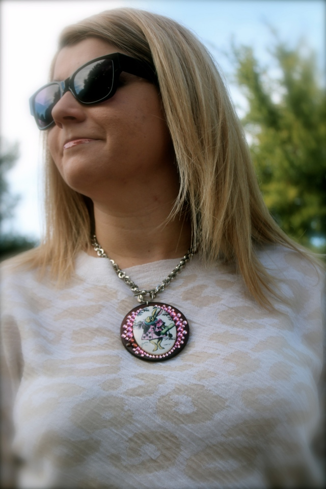 """One of my favorite Tarina collections is her """"Alice in Wonderland."""" I bought this necklace as an ode to my bunny Foofers."""