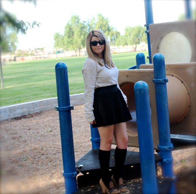 Top: ALC Leather Skirt: Parker Knee Highs: Forever 21 Shoes: Jerome C Rousseau Necklace: Tarina Tarantino