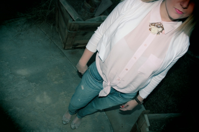Cardigan: Calvin Klein Button Up: Equipment Jeans: Textile Elizabeth and James Ballet Flats: Miu Miu Necklace: Forever 21