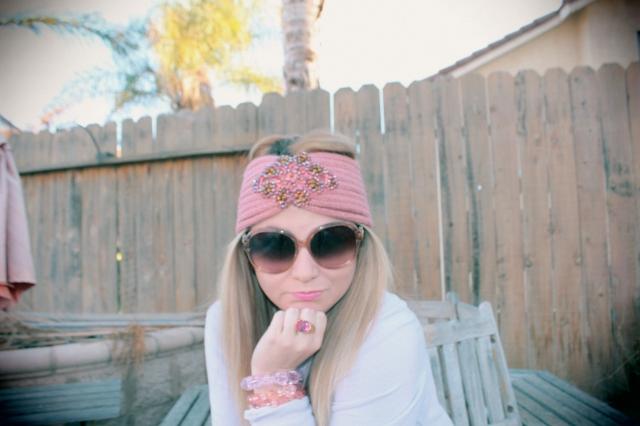 Pink bracelet, beaded by me. Purple bracelet by Tarina Tarantino. Ring a gift from my Aunt Jodi.
