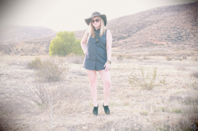 Dress: Equipment Ankle boots: Saks 5/48 Sunglasses: Chloe Hat: Saks Shorts: Free People