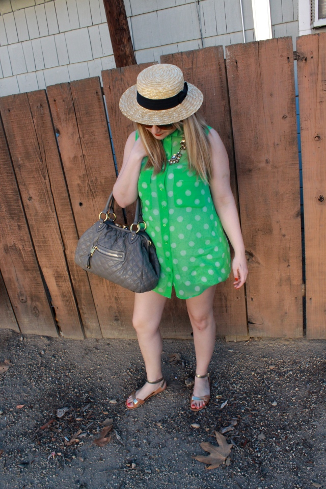 Top: Equipment Hat: H&M Sandals: Elizabeth and James Bag: Marc Jacobs
