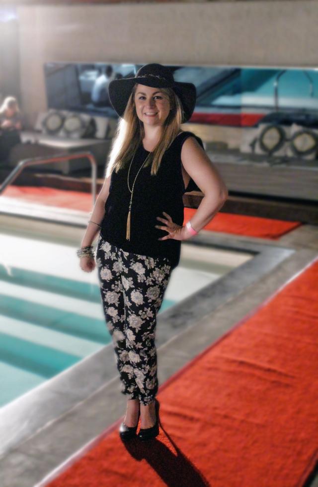 Hat: Saks Top: Winter Kate by Nicole Richie Pants: Brandy Melville Necklace: Saks