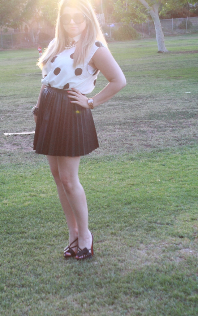 Top and Skirt: H&M Shoes: Christian Louboutin Sunglasses: Prada Necklace: H&M