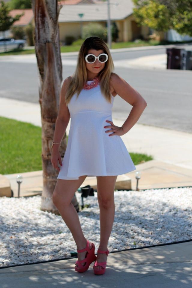 Sunnies: Prada Dress: H&M Shoes: Alice and Olivia Flower Necklace: Saks