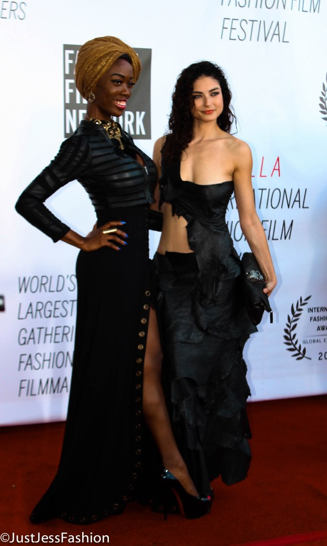 """Two of the most fabulous outfits to grace the red carpet. The one on the right was actually featured in Robert E. Ball Jr's """"The One."""" The film had a gothic vibe and these girls definitely brought it, but re-envisioned the glamorous way to the film festival."""