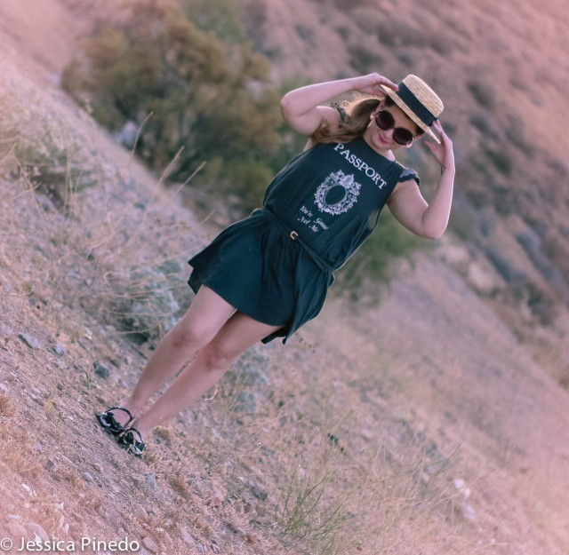 Dress: Wildfox Shoes: Miu Miu Sunnies: Prada Hat: H&M Earrings: Aldo