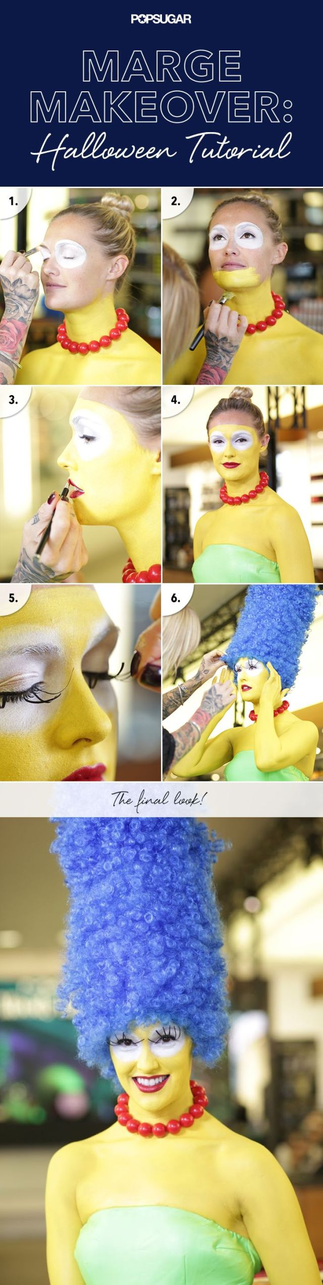 Step by step tutorial for Marge's makeup.
