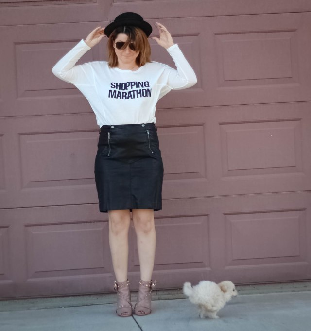 Top: Zara Skirt: Guess Shoes: Valentino Hat: H&M Sunnies: Elizabeth and James