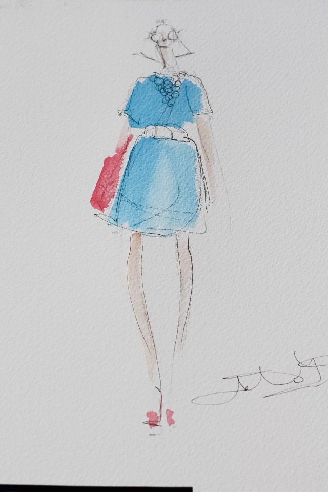 Simply Stylist outfit illustrated by the lovely and talented Jeanette Getrost. Outfit details: Dress- Wells Grace Pink Mania Pumps by Brian Atwood Bag by Ted Baker.