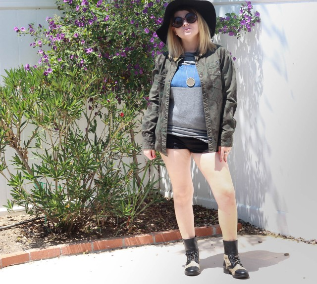 "Voyage Clothing ""Cortu Denim"" Contrast Tee styled with a Rails Camo blouse and All Saints boots."