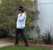 Top: Wildfox Leggings: Nordstrom Rack Boots: Chloe Sunnies: Dolce and Gabbana
