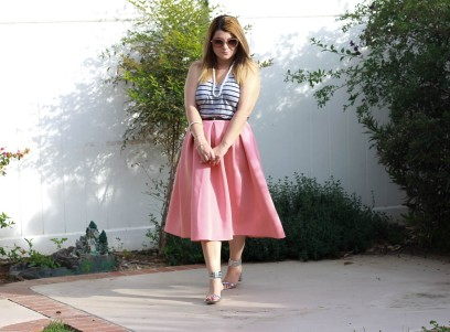 Skirt: Soprano Top: Vince Shoes: Brian Atwood Sunglasses: Miu Miu